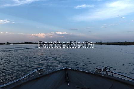 sunset at chobe border river between