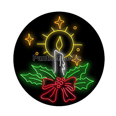 christmas candle wreath oval neon sign