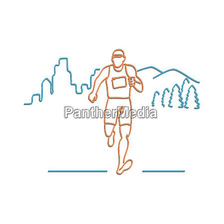 marathon runner running neon sign