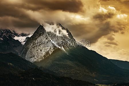 mountains of garmisch partenkirchen in autumn