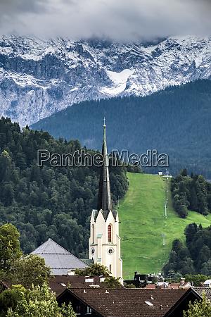 view to church of garmisch partenkirchen