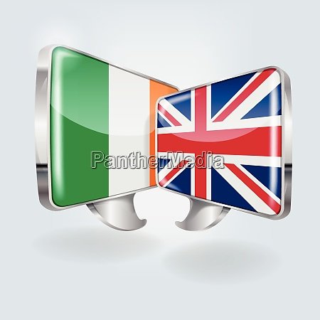 speech bubbles with ireland and england