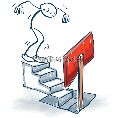 stick figure goes down a staircase