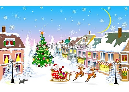 city, , christmas, night, , santa, claus, on - 26097340