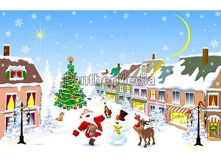 city in the winter jolly santa