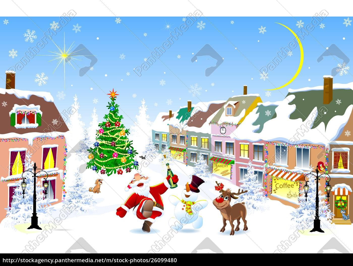 city, in, the, winter., jolly, santa, - 26099480
