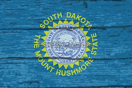 south dakota state flag on old