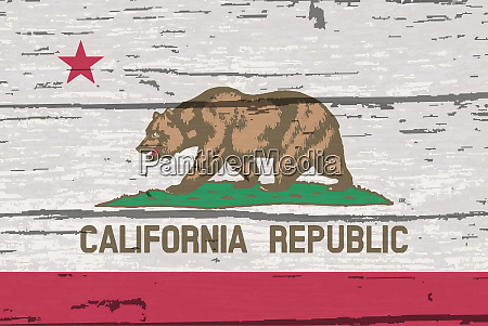 california state flag on old timber