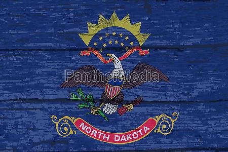 north dakota state flag on old