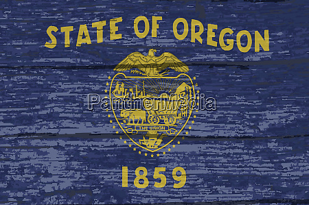 oregon state flag on old timber