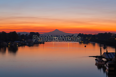 mount hood over columbia river at