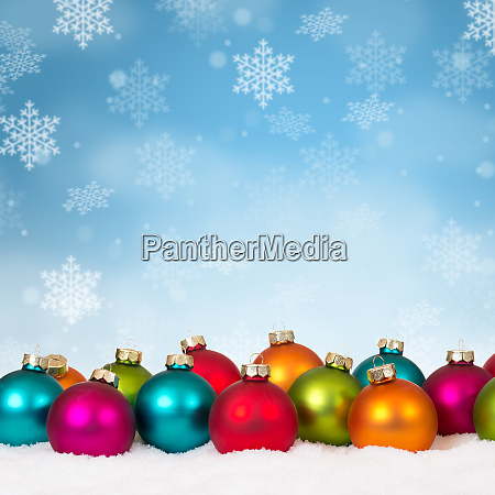many colorful christmas balls baubles background