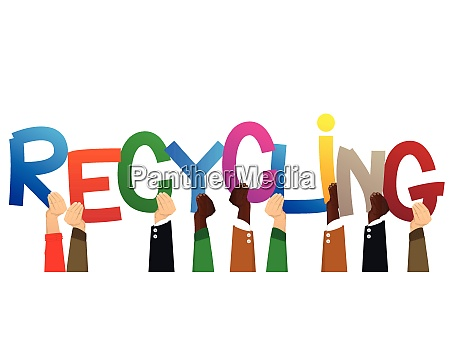 hands holding the word recycling