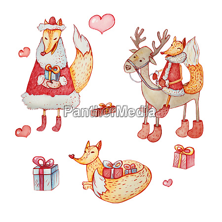 a set of christmas characters fox