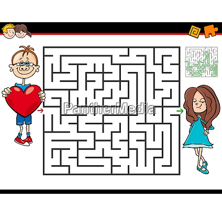 cartoon maze game with boy in