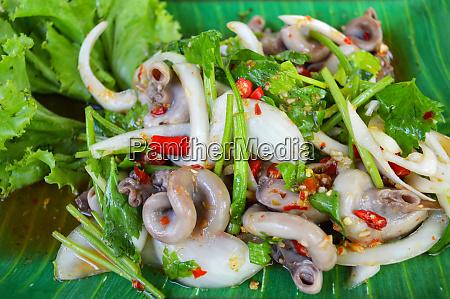 spicy salad chitterlings entrails pork