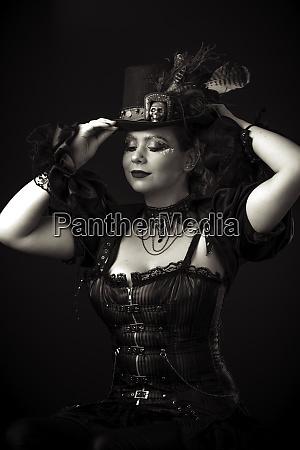 steampunk young woman emotional portrait