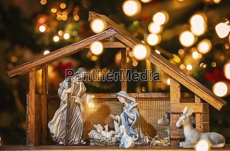 christmas manger scene with figurines