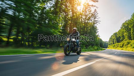 motorbike on the road riding having