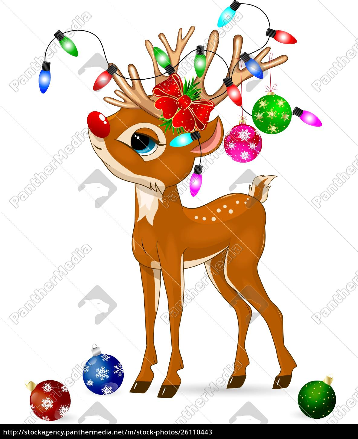 deer, with, christmas, decorations., deer, and - 26110443