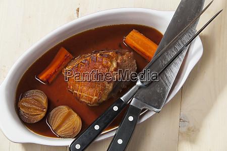 bavarian pork meat in a baking
