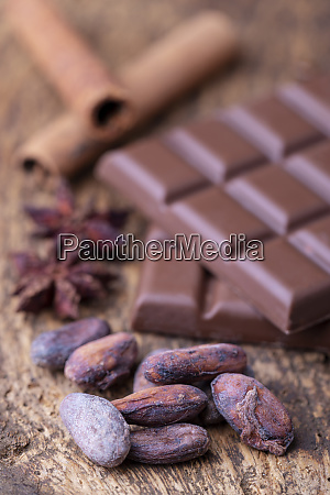 cacao beans and chocolate on wood