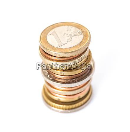 euro coin stack on a white