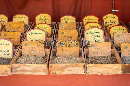 herbs at the medieval market of