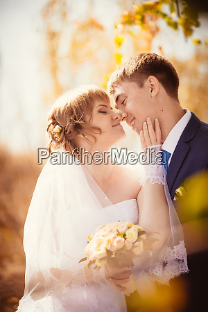 young bride and groom on the