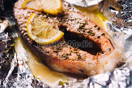 fish steak baked with lemon and