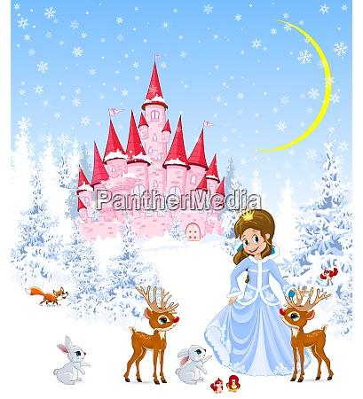 princess castle animals winter forest