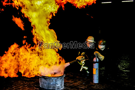 firefighters training for fire fighting