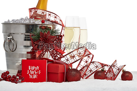 champagne and new year ornaments