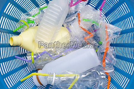 plastic waste plastic bottles with straws