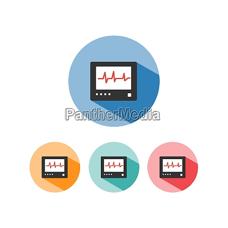 heart rate monitor color icon with