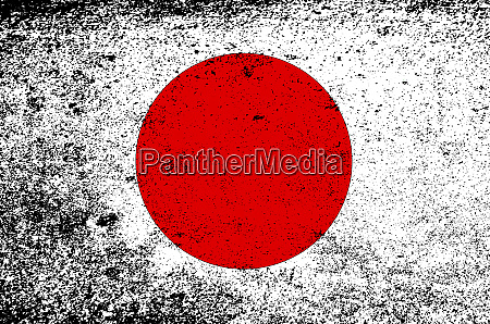 japanese flag with heavy grunge
