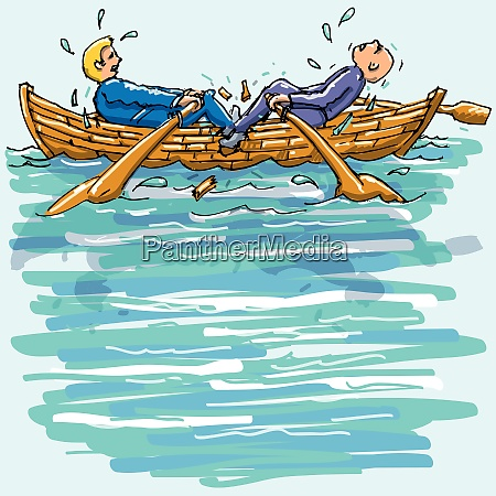 two men rowing against each other