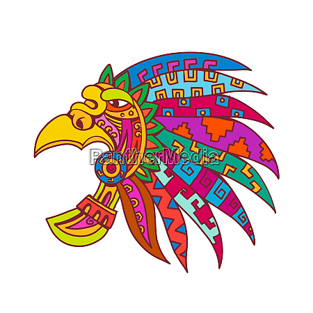 ancient aztec headdress drawing color