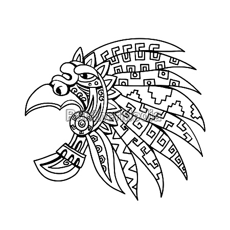 aztec feathered headdress drawing black and