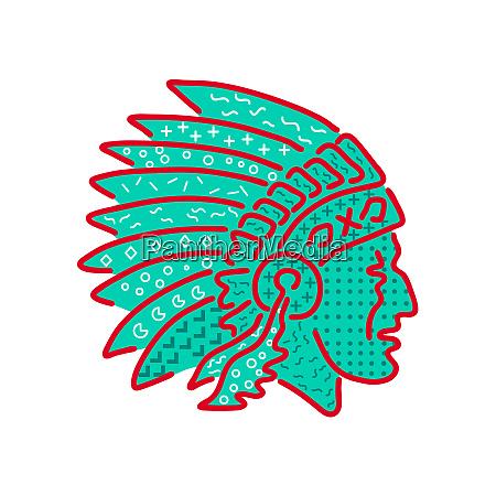 native american headdress memphis style