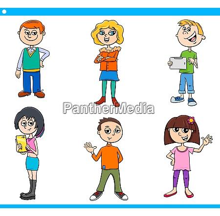 cartoon children and teens characters set
