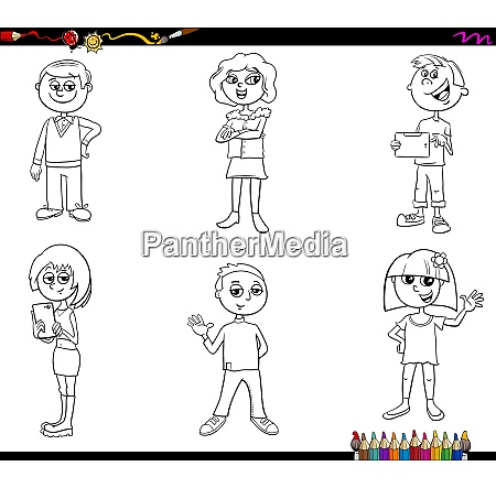 children or teen characters set coloring