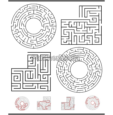 maze leisure game graphics set with