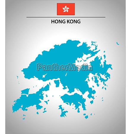 simple vector outline map of hong