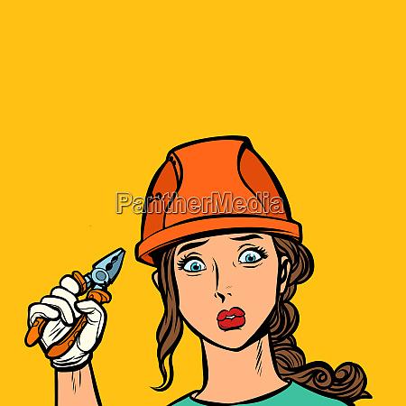 sad woman electrician professional