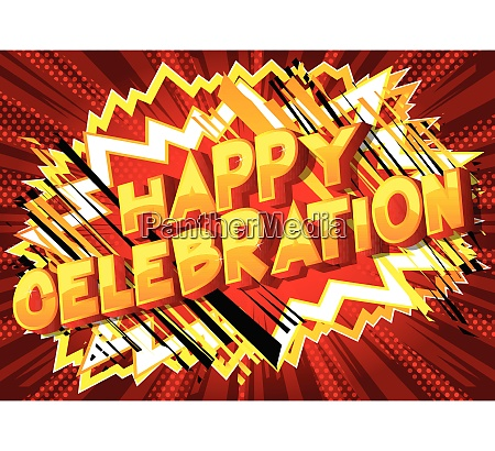 happy celebration vector illustrated comic