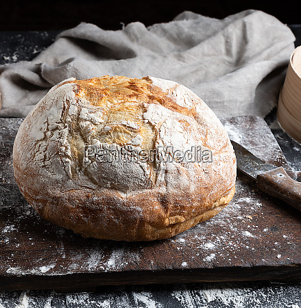 whole baked round bread made from