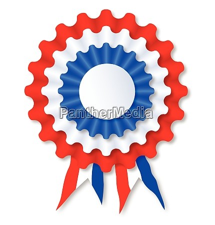red white and blue rosette