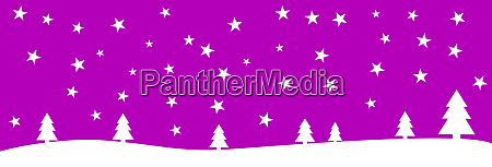 christmas banner purple white with stars