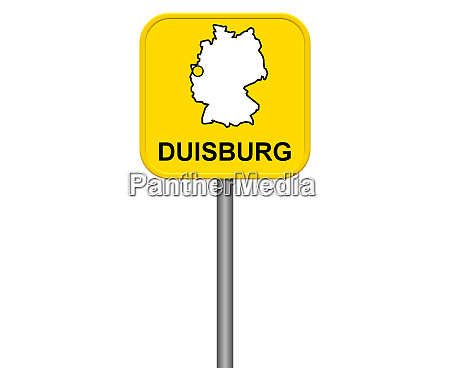 duisburg yellow city sign with
